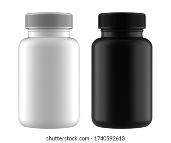 A Set of White and Black Pastic Bottles for Pills Packing for Accurate Work with Light and Shadows. 3D Render Isolated on White Background.