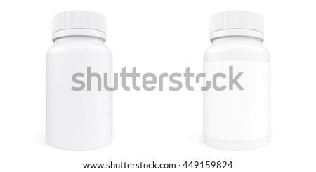 Set White Bottle Of Prescription Pill With Labels Template 3d Illustration