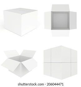 set white carboard box. carboard open and closed