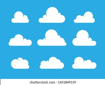 Set of White Cloud Icons in flat style isolated on blue background. Trendy modern cartoon style. Meteorology symbolic graphics for illustration, web design, poster, site, app.