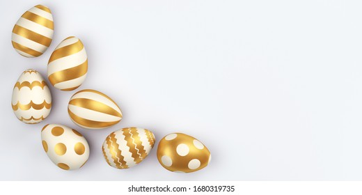 Set of white easter eggs with golden patterns on a white background. 3d render illustration.
