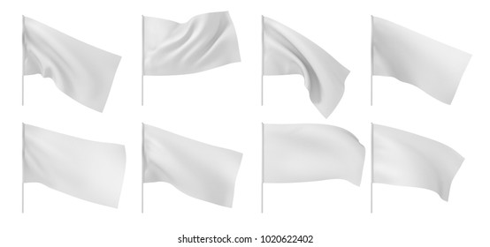 Set of white flags. 3d illustration