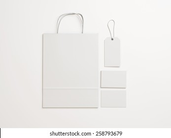 Set of  white identity elements for a shop on paper background