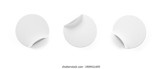 Set white round paper adhesive stickers mockup with curved corner and shadow. 3d rendering