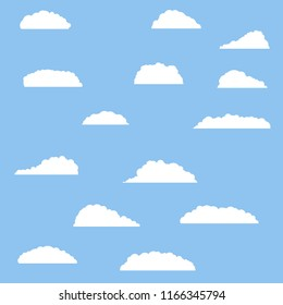 Set of white soft clouds. An element of good summer weather. Blue sky.