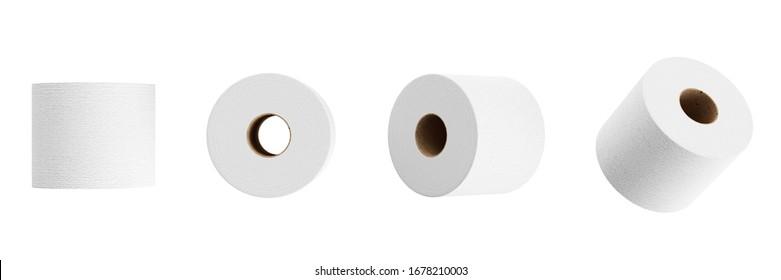 Conjunto de papel higiénico blanco aislado sobre fondo blanco. Representación 3D