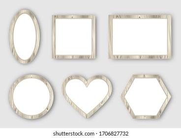 set of white wooden frames