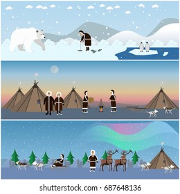 Set of wild north arctic banners, posters in flat style. Arctic animals and eskimo characters in traditional clothing, their houses. People fishing, cooking, dancing around the fire.