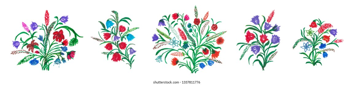 Set of Wildflower Bouquets and Vignettes. Hand Drawn Illustration for Your Design.