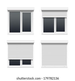Set of Windows with Rolling Shutters Isolated on White Background