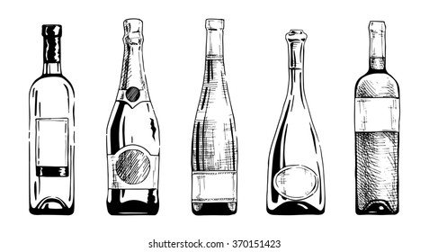 set of wine and champagne bottles in ink hand drawn style. isolated on white.