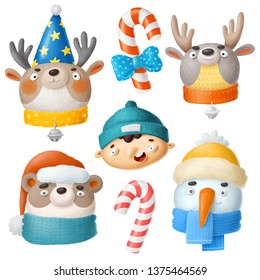 Set of winter characters