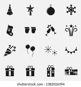 Set of winter holiday decorations flat black and white  icon.