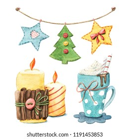 Set of winter objects - hot chocolate mug, candles, Christmas garland, watercolor illustration isolated on white background. Watercolor Christmas flags, cute hugge candles and cup of hot chocolate