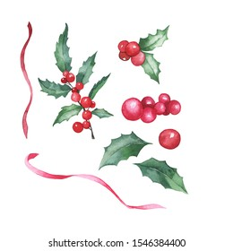 Set of winter plants: holly leaf branch, leaves and berries and red ribbons isolated on white background. Hand drawn watercolor illustration.
