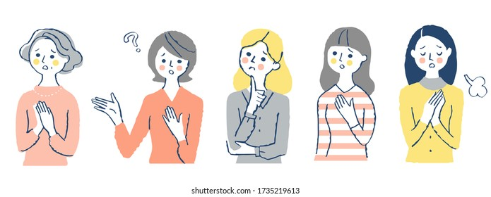 A set of women with a troubled expression