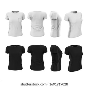 Set of women's sports t-shirts in black and white color. 3d realistic illustration of clothes. Mock up, template for print design. Front, back, side view.