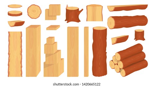 Set of wood logs, trunks, stump and planks. Forestry. Firewood logs. Tree wood trunk. Wood bark and tree log. Firewood and crust. Firewood for sale.