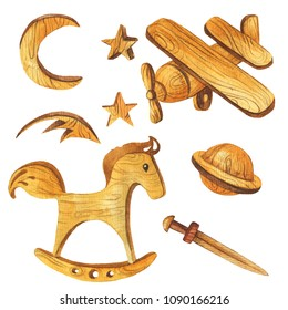 Set of wood toys - plane, rocking horse, moon, stars, planet and sward. Watercolor hand drawn illustration.