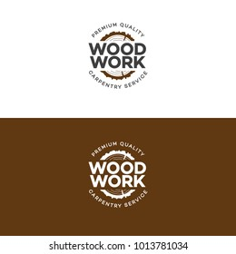 Set of wood work logo with sawed wood on background for wood master, carpentry service and sawmill service. Wood work stamp and manufacture banner.