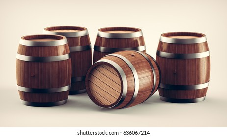 Set of wooden barrels, collection of standing and lying beer, wine and rum wooden barrels. 3d illustration.