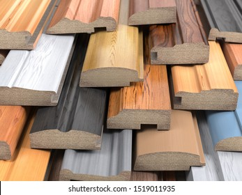 Set of wooden furniture CMD or MDF profiles. Smaples of baseboards from different types of wood. 3d illustration