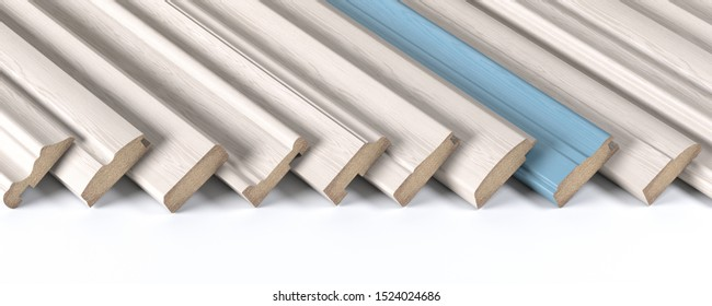 Set of wooden furniture CMD or MDF profiles. Smaples of white baseboards with different profile and one blue plank 3d illustration