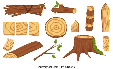 Set of wooden industry and materials. Wooden logs for the timber and timber industry. Trunks, stumps and planks illustration. Wooden elements, logs and tree trunks