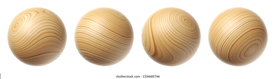 Set of wooden spheres isolated on a white background. 3d illustration