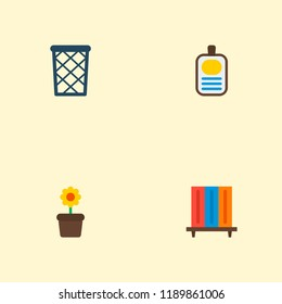 Set of workspace icons flat style symbols with flowerpot, id badge, wastebasket and other icons for your web mobile app logo design.
