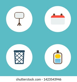 Set of workspace icons flat style symbols with whiteboard, calendar, wastebasket and other icons for your web mobile app logo design.