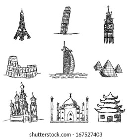 set of world famous places of interest, kids drawing