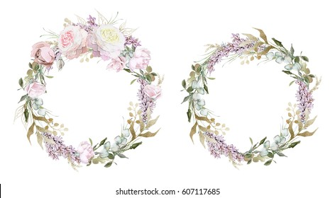 set wreaths. Cards, Watercolor wedding invitation design with pink roses and leaves. flower, background with floral elements for text. Template. Collection round frame