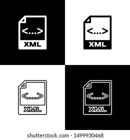 Set XML file document icon. Download xml button icons isolated on black and white background. XML file symbol
