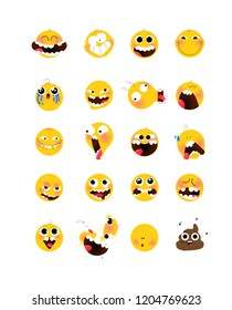 Set of yellow emotional heads, faces. Flat illustration of stylized human face. Round signs. Emoji, yellow sad, funny faces. Characters Internet memes.