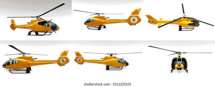 Set yellow helicopter isolated on the white background. 3d rendering.