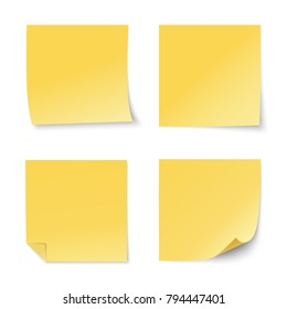 Set of yellow paper stickers on white background. Four realistic sticky notes. Various blank sheets with curled corners.