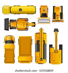 Set of yellow realistic construction machinery  top view isolated  illustration