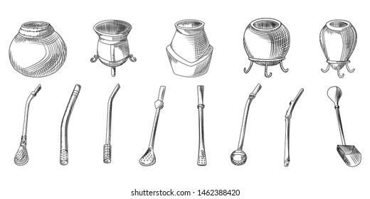 Set of yerba mate tea - calabash and bombilla. Accessory for drink mate. Traditional South American drink. Engraving style. Hand drawn illustration