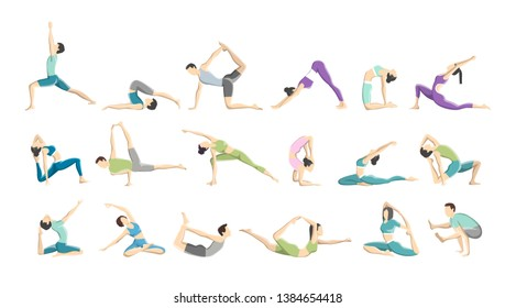 Set of yoga asana or exercise for men and women. Physical and mental health. Body relaxation and meditation. Isolated  illustration