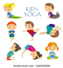 Set yoga asanas for kids. Collection of pose meditation, fitness activity, healthy gymnastics and stretching. Sport lifestyle. Cartoon illustration of girls and boys isolated on white background.