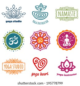 Set of yoga and meditation graphics and symbols