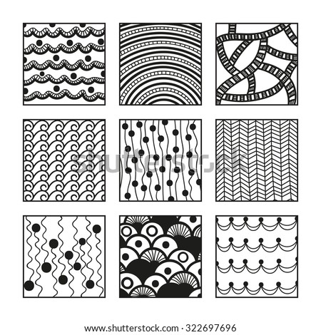 Set Zentangle Patterns Handdrawn Doodle Illustration Stock Unique Zentangle Patterns