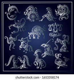 Set of zodiac icons (astrology, astronomy). Horoscope signs as cartoon characters.