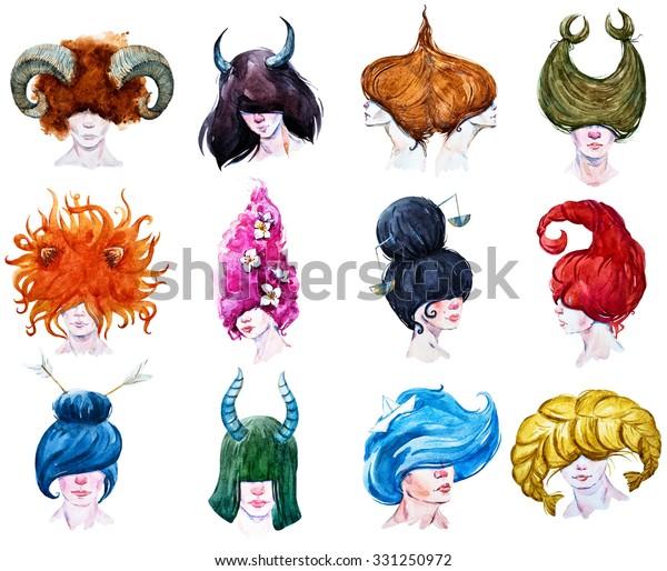 set of zodiac sign, girl portrait, watercolor illustration,