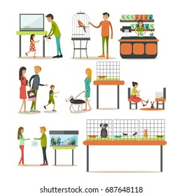 Set of zoo-shop concept design elements isolated on white background. Saleswoman, animals and people buying pets and food for them. Flat style design elements, icons.