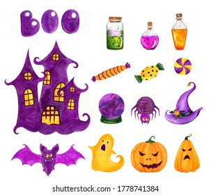 Seth Halloween watercolor, purple and orange and green color. Pumpkins, potion, hat, magic ball, castle, sweets, spider, bat, ghost, in children's style. icons on a white background.