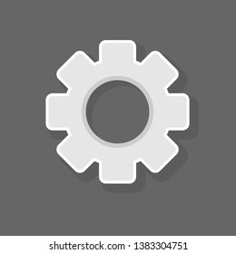 Settings icon - Cogwheel gear mechanism settings icon. Flat game graphics icon. Help options account concept. Trendy Flat style for graphic design, logo, Web site, social media, UI, mobile app.