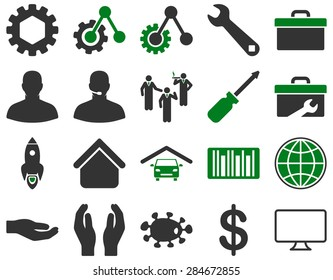 Settings and Tools Icons. Icon set style: bicolor flat images, green and gray colors, isolated on a white background.