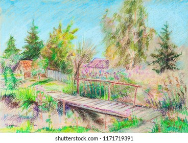 settlement with bridge in summer sunny day